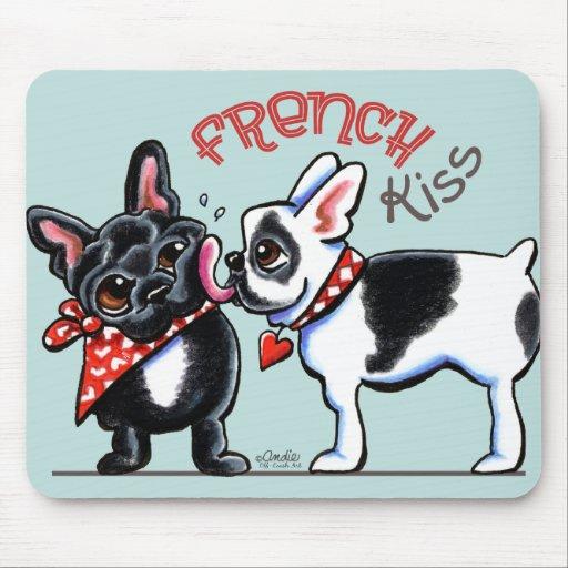 French Bulldog Kiss Mousepads