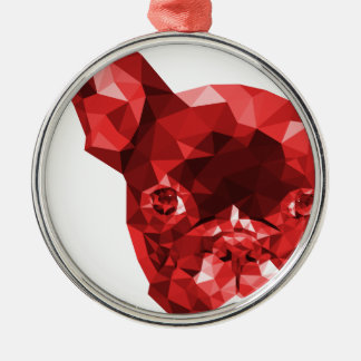 French Bulldog Low Poly Art in Red Christmas Ornament