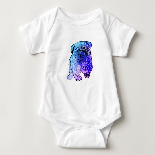 French Bulldog Mandala Art Jersey Bodysuit, White Baby
