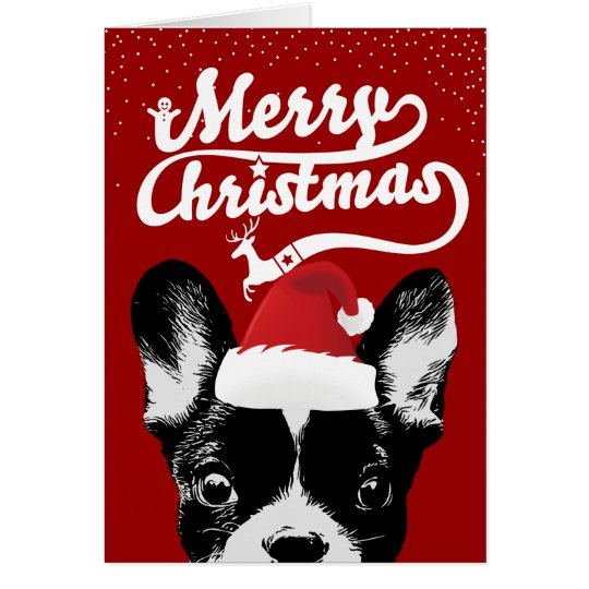 French Bulldog Merry Christmas Red Holiday Card