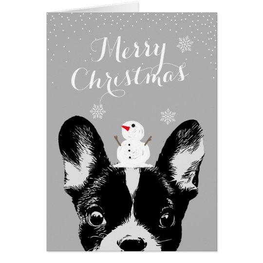 French Bulldog Merry Christmas Silver Holiday Card