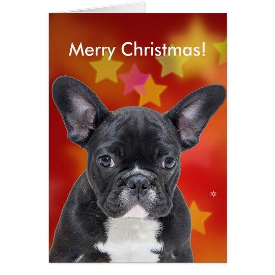 French Bulldog Merry Christmas Stars Card