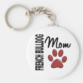 French Bulldog Mom 2 Basic Round Button Key Ring