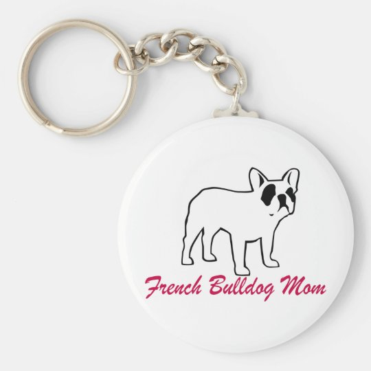 French Bulldog Mum Basic Round Button Key Ring