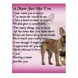 French Bulldog  Mum Poem Postcard