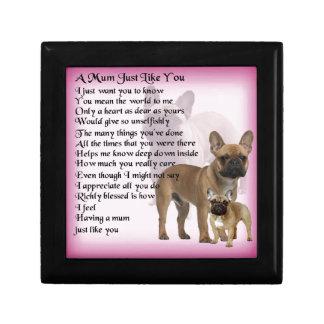 French Bulldog  Mum Poem Small Square Gift Box