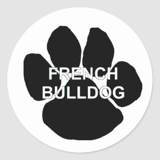 french bulldog name mega paw.png classic round sticker