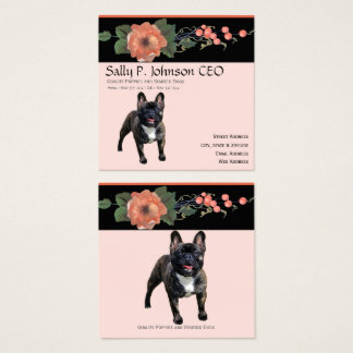 French Bulldog on Black Melon Floral Square Business Card