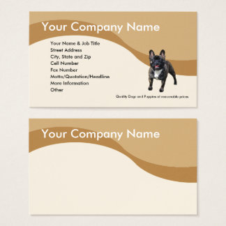 French Bulldog on Brown Wave Business Card