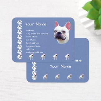 French Bulldog on Country Blue Business Card