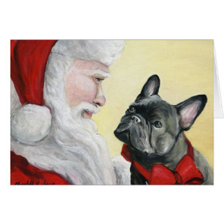 """French Bulldog on Santa's Lap"" Christmas Card"