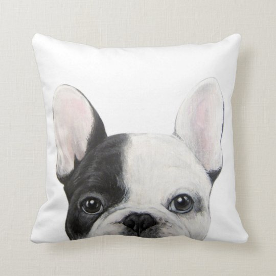 French Bulldog, original painting by miart Cushion