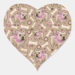 French Bulldog Pattern Heart Stickers