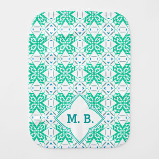 French Bulldog pattern monogramed Burp Cloths