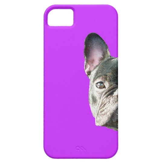 French Bulldog 'peeking' Iphone 5 case in PURPLE