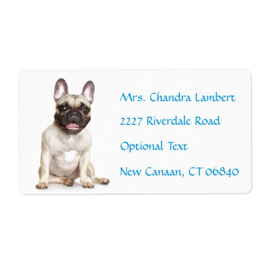 French Bulldog  Personalised Name Address Label