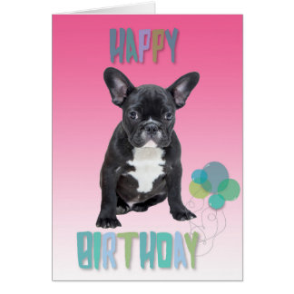 French Bulldog Pink Happy Birthday Greeting Card