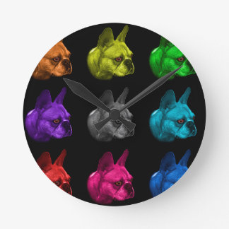 french bulldog pop art 0775 bb round clock
