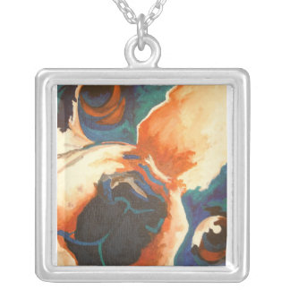 French Bulldog Portrait Silver Plated Necklace