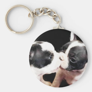 French bulldog puppies basic round button key ring