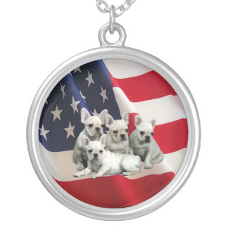French Bulldog Puppies Necklace American Flag