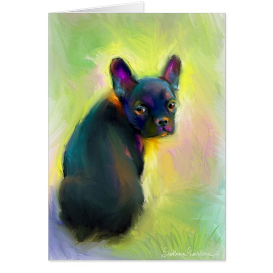 French bulldog puppy art card