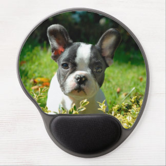 French bulldog puppy behind the foliage gel mouse mat