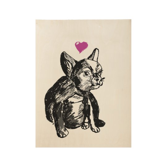 French Bulldog Puppy Drawing Custom Wood Poster