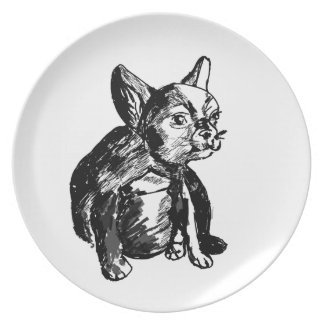 French Bulldog Puppy Drawing Melamine Plate