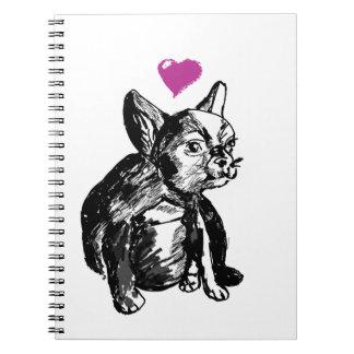 French Bulldog Puppy Drawing Photo Notebook