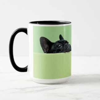 French Bulldog Puppy Peering Over Wall Mug