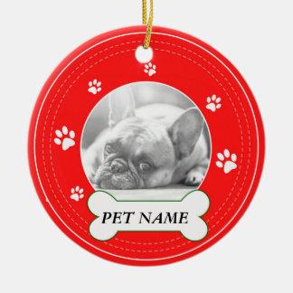 French Bulldog Red Paws Print Ceramic Ornament