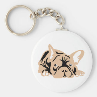 French Bulldog rose Basic Round Button Key Ring