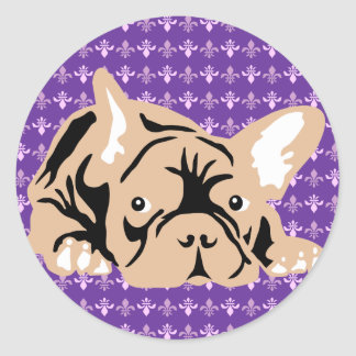 French Bulldog rose Round Sticker