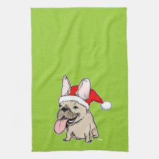 French Bulldog Santa Clause - Cute Dog Holiday Tea Towel