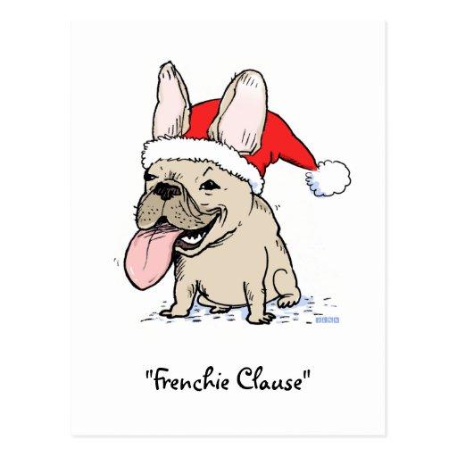 French Bulldog Santa Clause Dog Christmas Post Cards