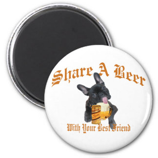 French Bulldog Shares A Beer 6 Cm Round Magnet