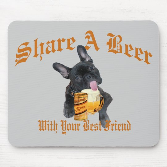 French Bulldog Shares A Beer Mouse Mat
