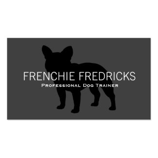 French Bulldog Silhouette Black on Grey Business Card Template