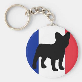 french bulldog silhouette flag basic round button key ring