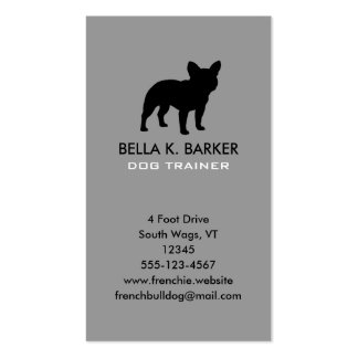French Bulldog Silhouette Vertical Business Cards