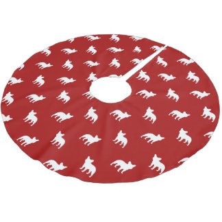 French Bulldog Silhouettes Pattern Brushed Polyester Tree Skirt