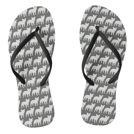 French Bulldog Silhouettes Pattern Flip Flops