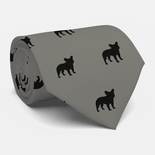 French Bulldog Silhouettes Pattern Tie