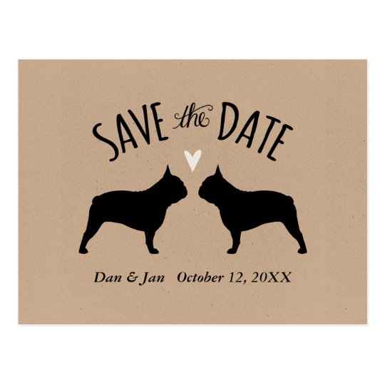 French Bulldog Silhouettes Wedding Save the Date Postcard
