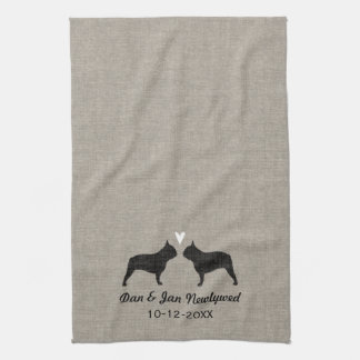 French Bulldog Silhouettes with Heart and Text Tea Towel