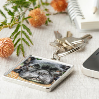 French Bulldog Silver-Colored Square Key Ring