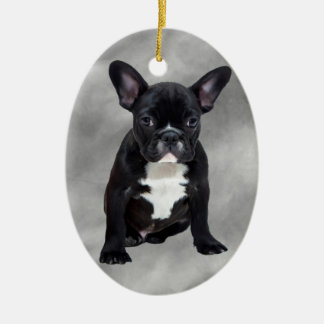 French Bulldog Sitting Watercolor Oil Painting Christmas Ornament