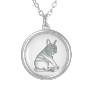 French Bulldog sketch round necklace