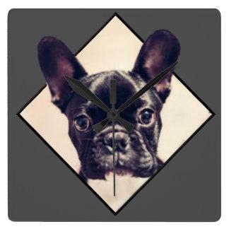French Bulldog small square wall clock
